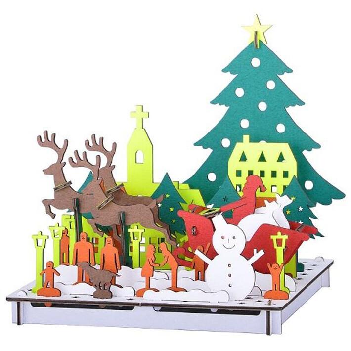 PUSUPUSU 2D Line ホワイトクリスマス No.3877 ダンボール工作キット 10点