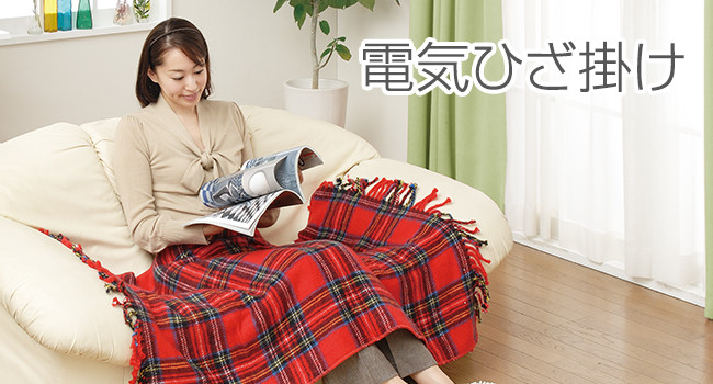 Sugiyama 電気ひざ掛け タータンチェック NA-055H レッド  12点