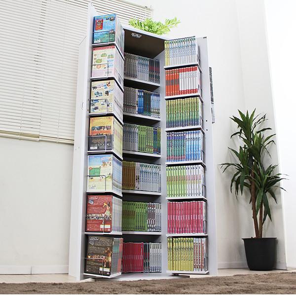 送料無料 DVDラック CD コミック 本棚 ストッカー収納庫 日本製 ホワイト 大容量 スリム コミックラック マガジンラック 収納 木製 DVDラック おしゃれ