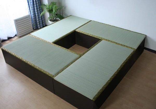 送料無料 高床式ユニット畳(1畳タイプ4本セット)ダークブラウン 収納ボックス たたみベンチ 収納ベンチ 畳ユニット おもちゃ箱 畳ボックス 収納ボックス 大容量 和風