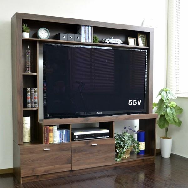 送料無料 55インチ対応 テレビ台 ハイタイプ 壁面家具 ブラウン 50型 壁面収納 大容量 収納 木製 おしゃれ TVボード AVボード テレビラック TV台 TVボード スタイリッシュ モダン 北欧