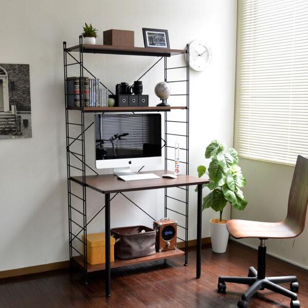 送料無料 Wラダー 梯子型 パソコンデスク 幅83.5cm デスク インダストリアル 収納 ラック付き 勉強机 オフィスデスク 学習デスク ブルックリン 男前 作業机 ワークデスク おしゃれ
