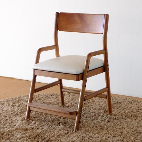 送料無料 デスクチェア 学習チェア 無垢材 ミディアムブラウン×ホワイト 木製 椅子 おしゃれ モダン 北欧 ミッドセンチュリー 高級感 子供