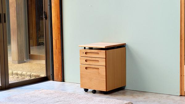 送料無料 昇降ワゴン ナチュラル アルダー材 サイドチェスト サイドワゴン キャスター付き 木製 収納 デスクワゴン オフィス サイドテーブル おしゃれ 北欧 モダン ミッドセンチュリー