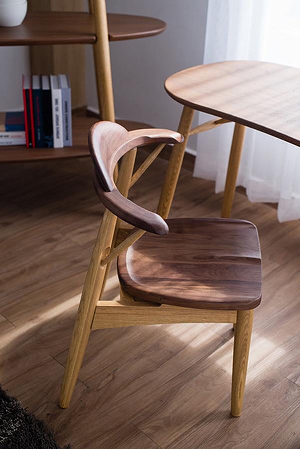 送料無料 ダイニングチェアー 単品 ワークチェア ミディアムブラウン+ナチュラルブラウン 天然木 木製 食卓椅子 いす 椅子 チェア おしゃれ デザイン 北欧 モダン ミッドセンチュリー