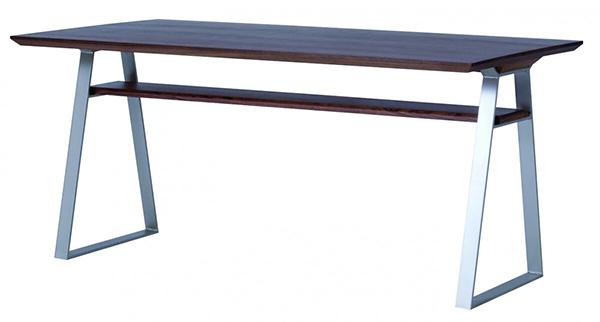 送料無料 ダイニングテーブル 単品 幅156cm ミディアムブラウン 棚付き収納 4人掛け 4人用 木製 食卓テーブル 机 作業台 カフェ 食事 北欧 ミッドセンチュリー 和モダン おしゃれ 西海岸 インダストリアル 高級感