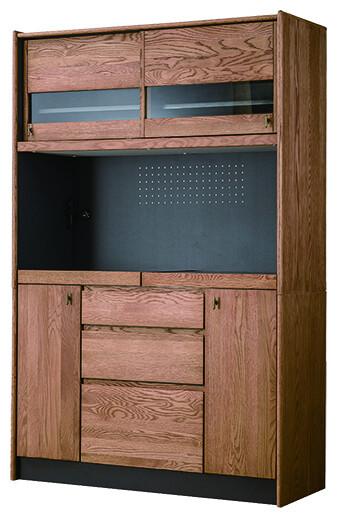 送料無料 キッチンボード幅120cm ナチュラル 食器棚 木製 完成品 オーク レンジ台 レンジボード キッチン収納 台所 ラック 食器収納 おしゃれ 北欧 モダン レトロ ミッドセンチュリー 高級感