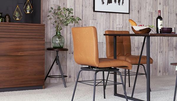 送料無料 ダイニングチェア 単品 ライトブラウン アイアン 回転式 食卓椅子 イス 椅子 チェア ダイニングチェアー 食卓チェア コンパクト おしゃれ デザイン インダストリアル 西海岸 ブルックリン 男前インテリア 塩系 高級感