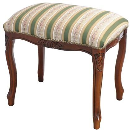 送料無料 イタリア製家具 スツール 茶枠 ストライプ柄 猫脚 腰掛け椅子 こしかけ 玄関 リビング 寝室 アンティーク クラシック エレガント インテリア 高級感 おしゃれ