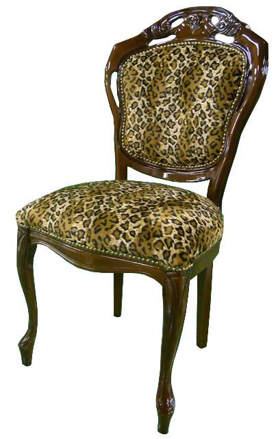 送料無料 イタリア製 ダイニングチェアー 茶枠 ヒョウ柄 動物柄 食卓椅子 木製 アンティーク クラシック エレガント 高級感 おしゃれ 猫脚 イス 椅子 カフェ