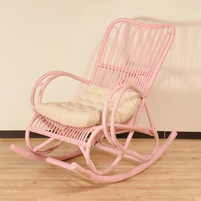 送料無料 ラタン家具 ロッキングチェア ピンク 天然ラタン使用 パーソナルチェア 1人掛け リラックスチェア アームチェア チェア チェアー 椅子 イス おしゃれ アジアン