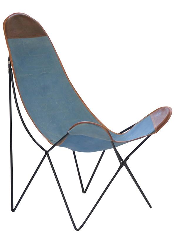 送料無料 パーソナルチェア ブルー キャンバス生地 レザー チェアー アイアン 1人掛け 1人用 リビング チェア 椅子 イス アンティーク おしゃれ