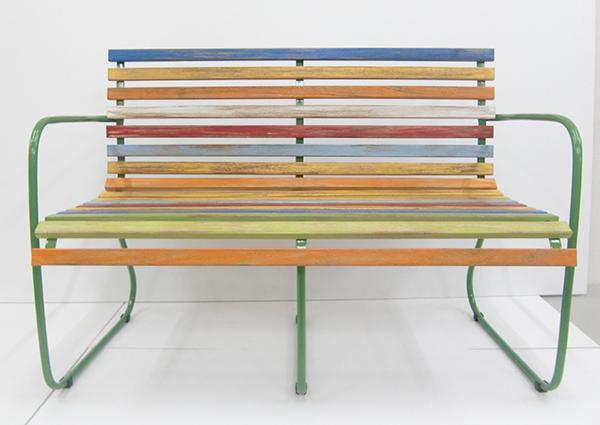 送料無料 ヴィンテージ風 カラフル ベンチ コンパクト アイアン 2人掛け いす 椅子 イス 食卓椅子 おしゃれ かわいい