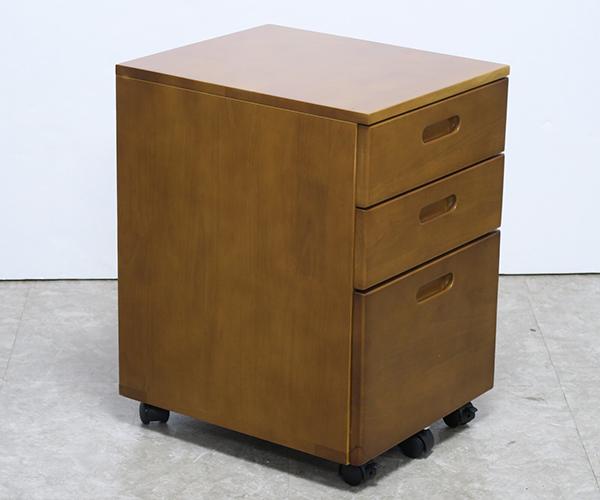 送料無料 デスクワゴン 単品 ブラウン スリム 木製 サイドワゴン キャスター付き オフィスワゴン チェスト 収納 引き出し おしゃれ 北欧