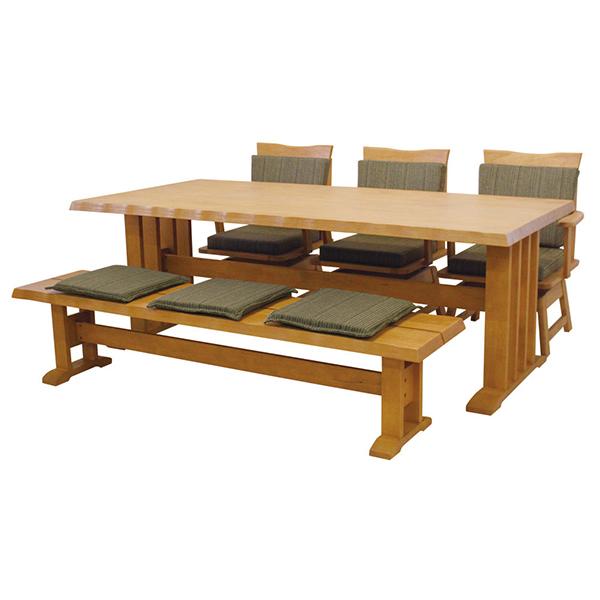 送料無料 ダイニング5点セット ダイニングテーブル (190幅/6人掛け用) 伊吹 6人 6人掛け 木製 テーブル 回転 チェアー ベンチ 机 作業台 椅子 食卓テーブル 北欧 和風 おしゃれ