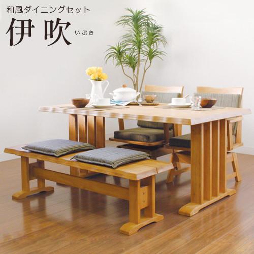 送料無料 ダイニング4点セット ダイニングテーブル (150幅/4人掛け用) 伊吹 4人 4人掛け 木製 テーブル 回転 チェアー ベンチ 机 作業台 椅子 食卓テーブル 北欧 和風 おしゃれ