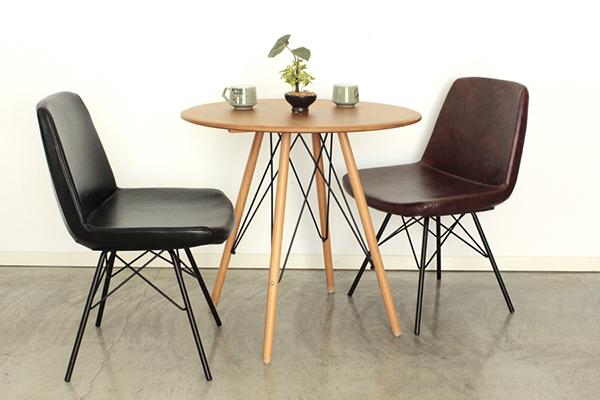 ダイニングチェア ブラウン 合成皮革 チェア カフェチェアー ダイニングチェアー 食卓チェア 椅子 イス いす コンパクト ミッドセンチュリー シンプル モダン シック レトロ 北欧 おしゃれ デザイン 高級感