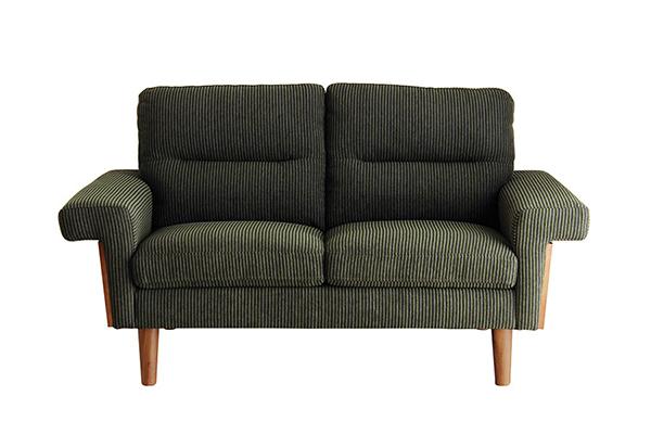 二人用ソファ モスグリーン コーデュロイ風生地 ウォールナット コンパクト ダイニングチェアー 食卓チェア いす 椅子 2人掛け 2人用 ソファー リビング アンティーク エレガント 高級感 おしゃれ