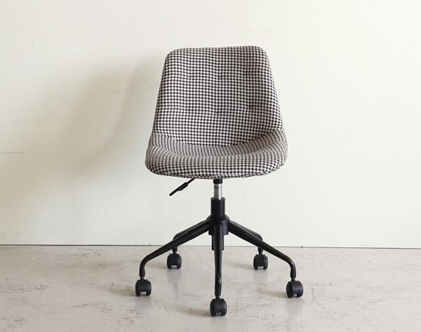 チェアー オフィスチェア デスク用チェア いす 椅子 千鳥格子柄 ファブリック キャスター ワークチェアー ダイニングチェアー 食卓チェア ミッドセンチュリー シンプルモダン おしゃれ デザイン 高級感