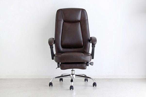 オフィスチェア ブラウン オットマン 足置き付き フットレスト付き リクライニングチェアー ハイバック デスク用チェア いす 椅子 キャスター ワークチェアー パソコンチェア モダン ミッドセンチュリー レトロ 高級感