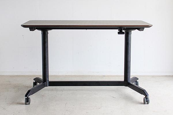 スタンディングテーブル 幅120cm パソコンテーブル 机 作業台 デスク ワークデスク ウォールナット柄 高さ調整 キャスター付き カフェ 北欧 おしゃれ 高級感