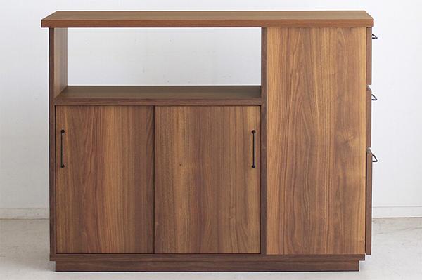 日本製 幅120cm 間仕切りカウンターテーブル キッチンカウンター 収納 間仕切り 木製 テーブル キッチンボード レンジ台 収納棚 ウォールナット 北欧 モダン ミッドセンチュリー おしゃれ 高級感 ナチュラル/ブラック