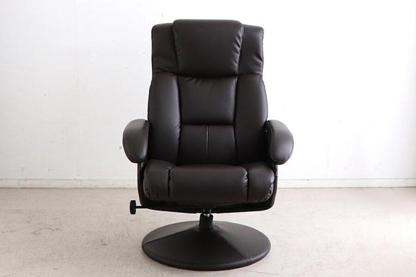 パーソナルチェアー オットマン付 リクライナー 一人掛け椅子 1人用 いす 合成皮革 合皮 チェア リビング シック シンプル ボリューム ゆったり おしゃれ 高級感