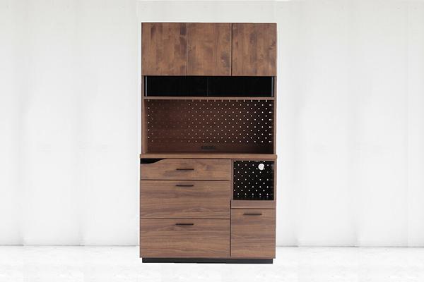 105キッチンボード ブラウン 日本製 木製 アルダー無垢 食器棚 レンジ台 炊飯器収納 キッチン収納 カップボード 収納棚 北欧 おしゃれ モダン 高級感