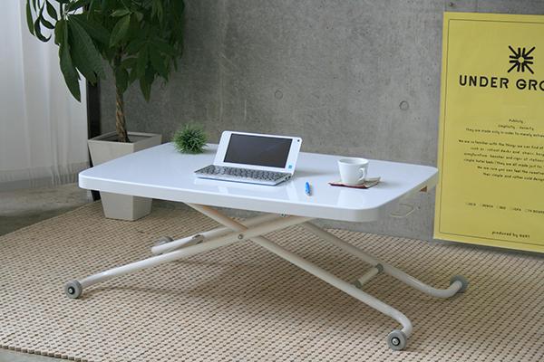 昇降テーブル キャスター付き リフティング LT-キュート ホワイト 白 センターテーブル ローテーブル リビングテーブル おしゃれ デザイン 作業台 机 カフェ 北欧 モダン シンプル
