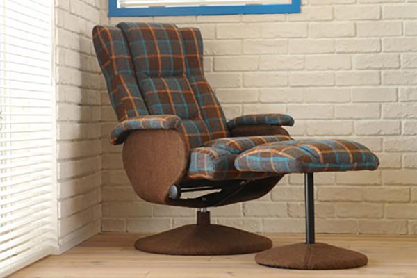 パーソナルチェア リクライニングチェア (オットマン別売り) チェア ブラウンチェック ケッテ ハイバック 肘掛 リラックスチェア おしゃれ 1人掛け 1人用 リビング いす 椅子 モダン 高級感