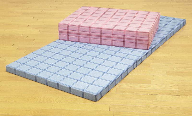 腰を支える3つ折れ格子柄バランスマットレス シングル ピンク×ブルー2色組