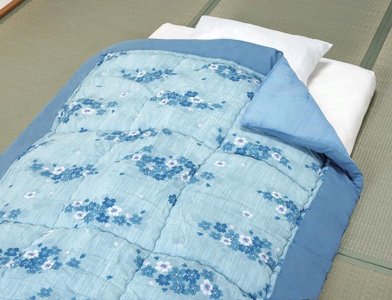 日本製 吸汗速乾・抗菌防臭・防ダニ加工楊柳肌掛布団2色セットグリーン・ブルー