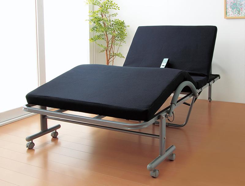 立ち座り楽ちん低反発メッシユ仕様収納式電動リクライニングベッド