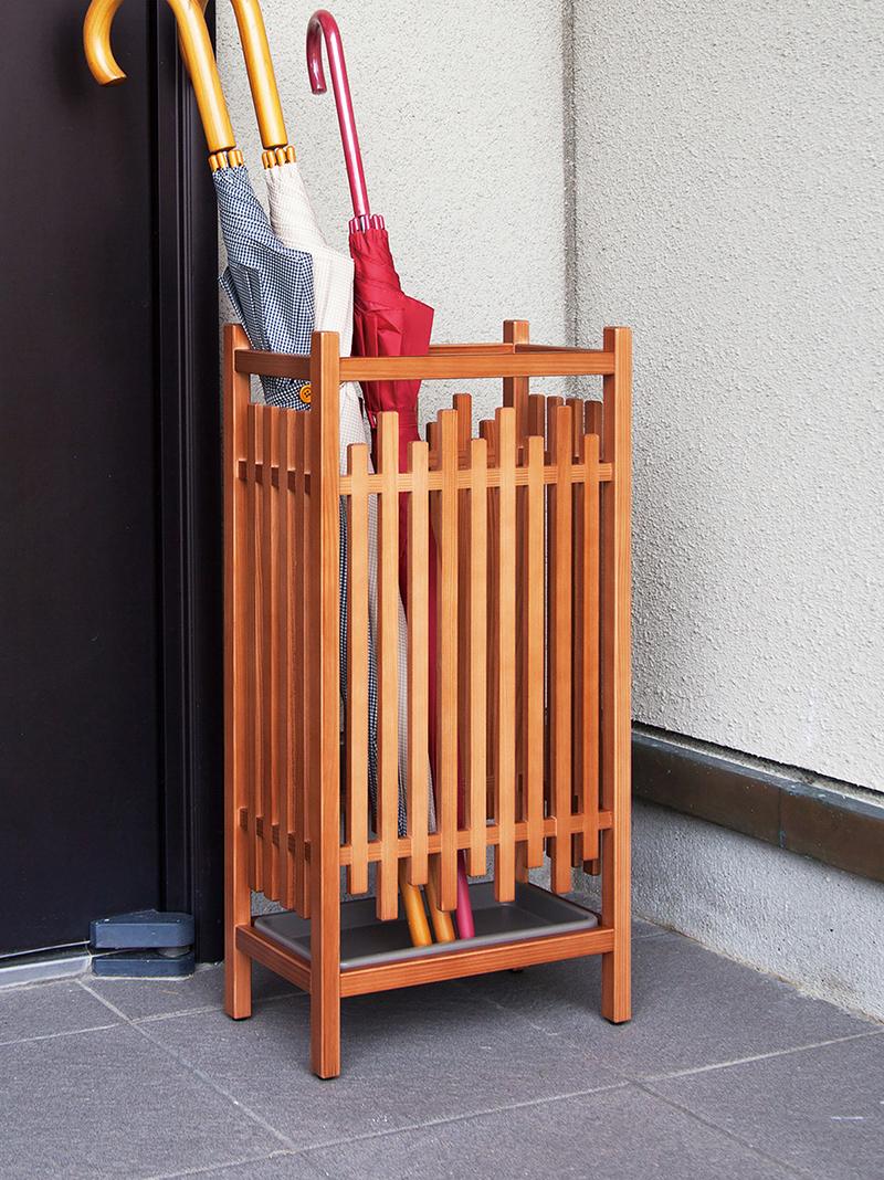 日本製「秋田杉」格子傘立
