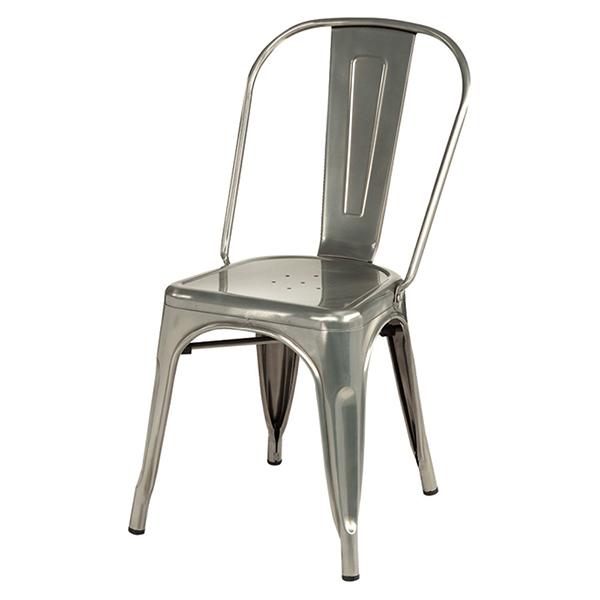 メタルチェア 4脚セット シルバーメッキ ダイニングチェアー リビング カフェ スタッキング 椅子 いす ブルックリン インダストリアル 西海岸 男前インテリア おしゃれ