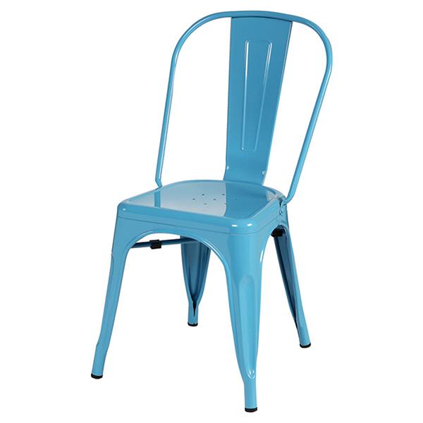 椅子 カフェチェア 4脚セット ライトブルー スチール ダイニングチェアー リビング キッチン カフェ イス いす ブルックリン インダストリアル 西海岸 男前インテリア おしゃれ