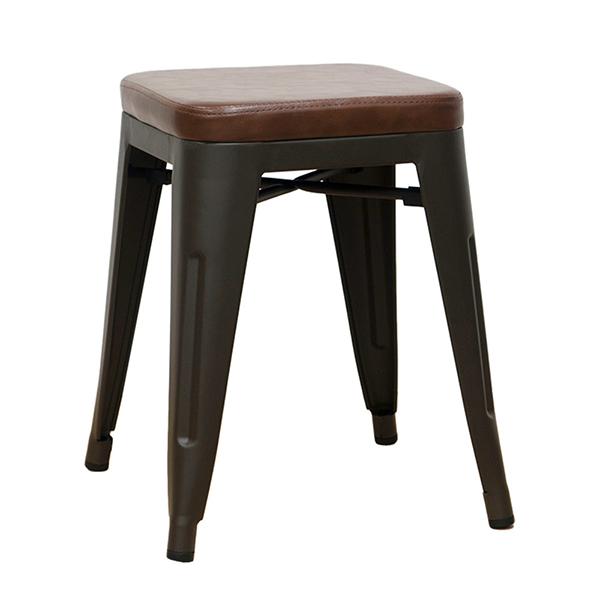 メタルスツール 4脚セット スタッキング レザー ダイニングチェアー リビング キッチン 腰掛け カフェ 椅子 いす ブルックリン インダストリアル 西海岸 男前インテリア おしゃれ
