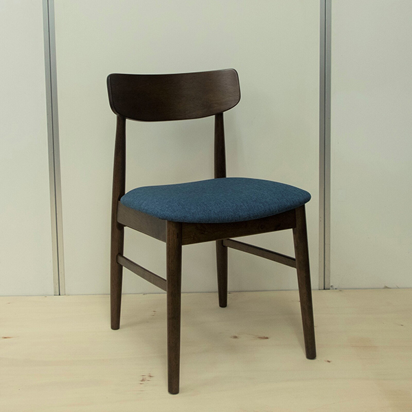 ダイニングチェア 2脚セット ブルー 木製 ファブリック ダイニングチェアー 椅子 いす ダイニング チェア 食卓椅子 北欧 カフェ風 ミッドセンチュリー カントリー ナチュラル おしゃれ ラバーウッド 北欧 ウォールナット色
