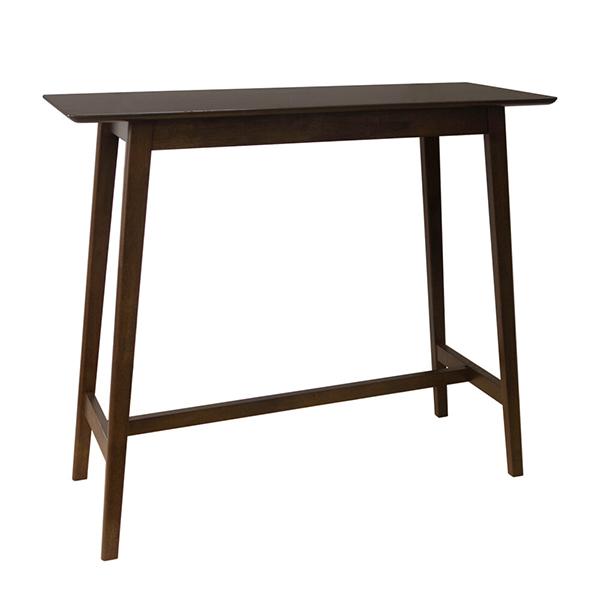 ハイテーブル 木製 カウンターテーブル スリム バーテーブル パソコンデスク 作業台 飾り机 ラバーウッド 北欧 ウォールナット色 西海岸 ブルックリン 男前インテリア おしゃれ