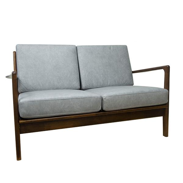 ソファ レザー 2人掛け 木製 ラバーウッド 北欧 グレー ウォールナット色 ファブリック 椅子 ソファー おしゃれ 肘付き 木肘 モダン レトロ