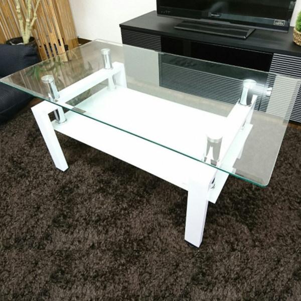 ガラステーブル 幅90cm センターテーブル ローテーブル リビングテーブル 棚付き シンプル おしゃれ ガラス コンパクト