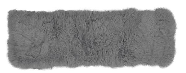 送料無料 ムートンクッション 長毛 厚手 羊毛皮 座布団 ロングクッション グレー 約38×120cm クッション おしゃれ かわいい 高級感
