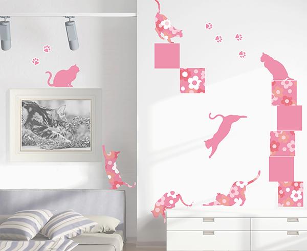 転写 大判 高級 ウォールステッカー「フローラル・キャッツ:ピンク」動物 猫 ねこ ネコ 日本製 壁傷 汚れ隠し インテリア キッチン リビング 子供部屋 トイレ 壁紙 壁シール かわいい 北欧:コミットアンド店