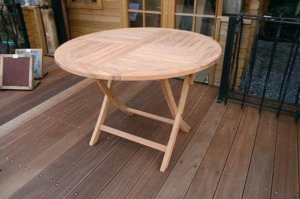 折り畳み丸テーブル 単品 チーク 木製 折りたたみ ガーデンテーブル 机 テラス アウトドア おしゃれ モダン