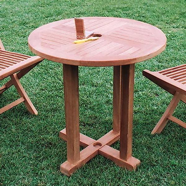 丸テーブル 単品 チーク 木製 ガーデンテーブル 机 テラス カフェ アウトドア おしゃれ モダン