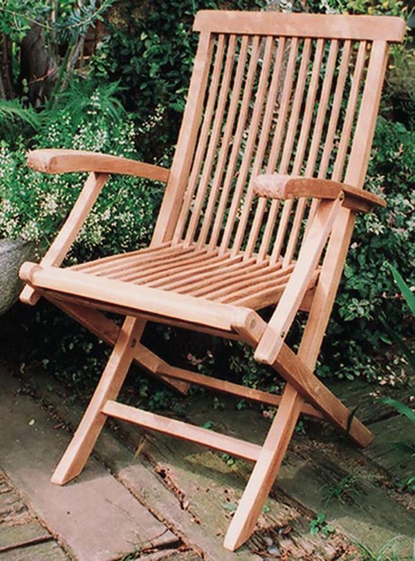 折り畳みアームチェア 折りたたみ 木製 チーク ガーデンチェアー 1人掛け いす 椅子 ひとりがけ チェア テラス カフェ おしゃれ モダン レトロ 高級感