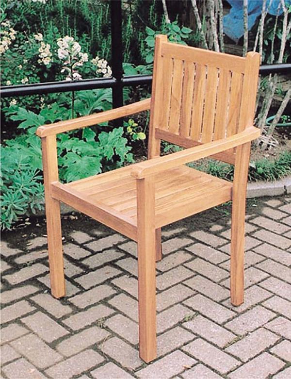 シンプルスタッキングチェア 木製 チーク ガーデンチェアー 1人掛け いす 椅子 ひとりがけ チェア テラス カフェ おしゃれ モダン レトロ 高級感