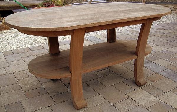 ロマンティックテーブル 単品 棚付き チーク 木製 ガーデンテーブル 机 テラス カフェ アウトドア おしゃれ モダン