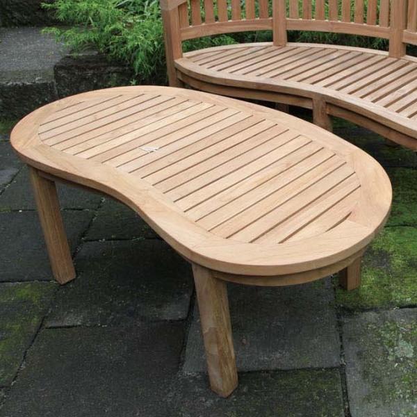 バナナテーブル 単品 チーク 木製 ガーデンテーブル 机 テラス カフェ アウトドア おしゃれ モダン