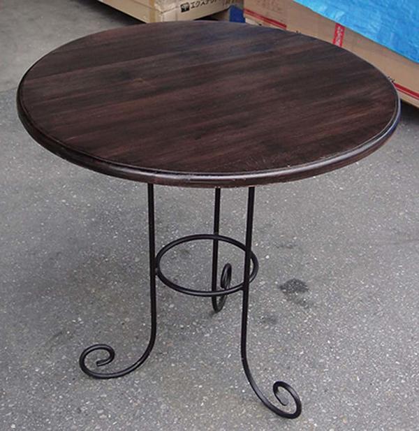 アイアンチークテーブル 単品 チーク 木製 アイアン ガーデンテーブル 机 テラス アウトドア おしゃれ モダン